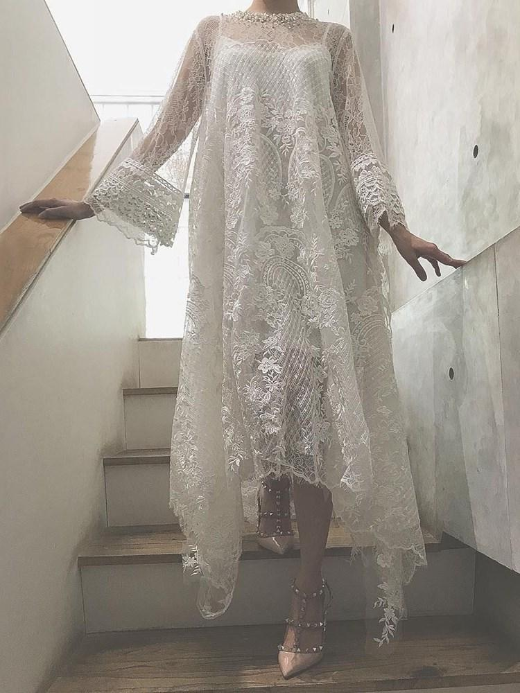 Round Neck Floor-Length Lace Flare Sleeve Pullover Dress