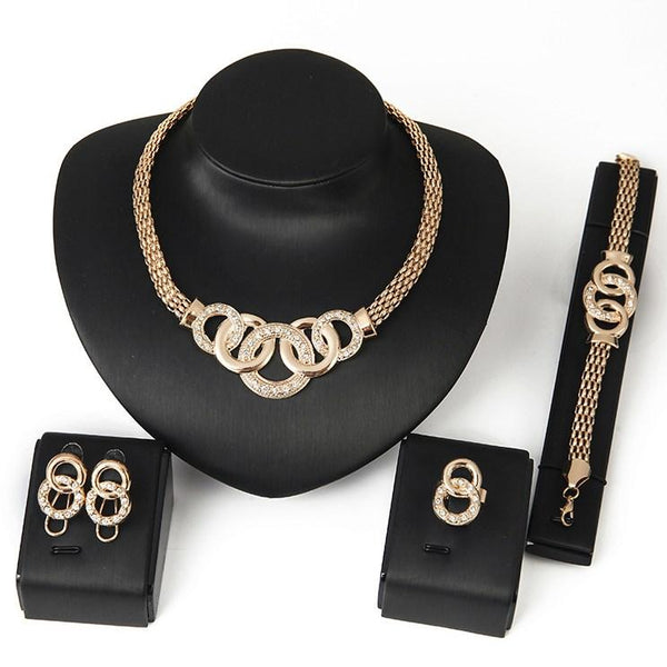 European Diamante Geometric Party Jewelry Sets