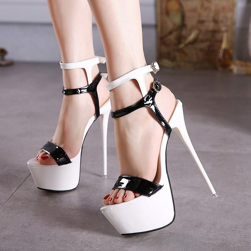 Ankle Strap Buckle Stiletto Heel Open Toe Platform Color Block Sandals