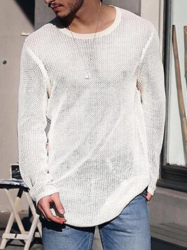 Round Neck Plain Mid-Length Spring Casual Sweater
