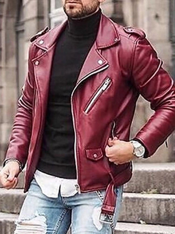Lapel Plain Zipper Slim Zipper Jacket
