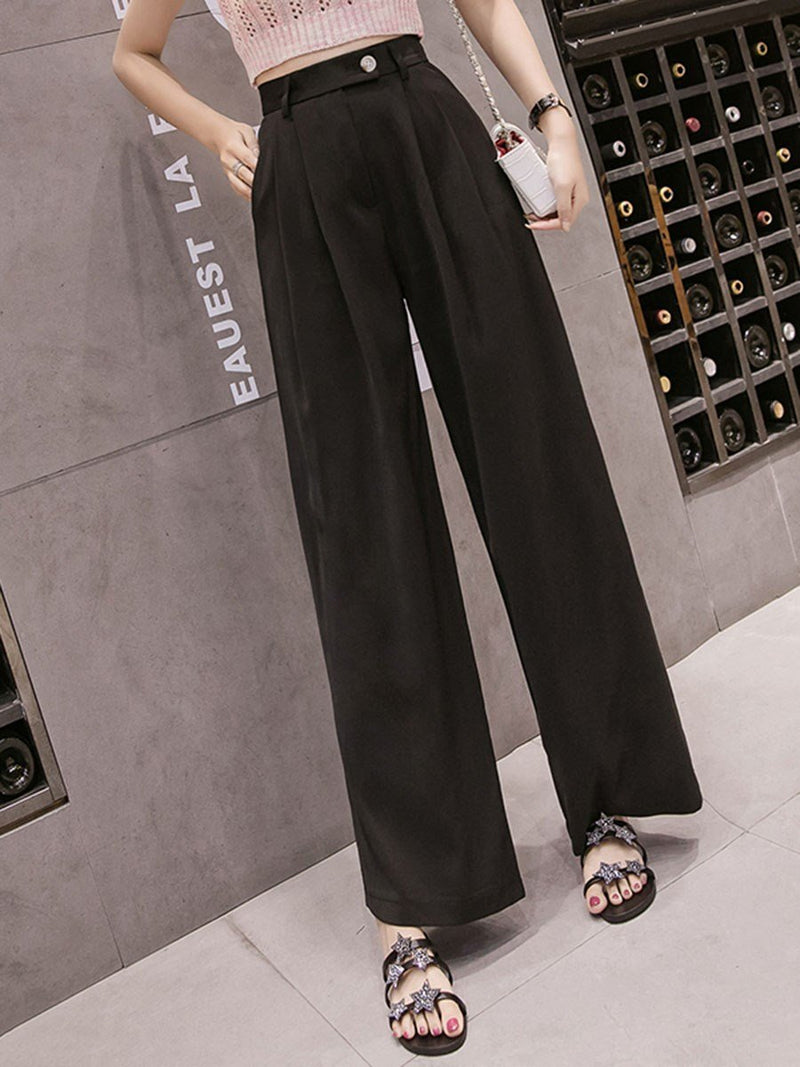 Loose Pleated Plain Wide Legs Full Length Casual Pants