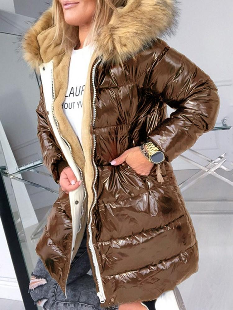 Zipper Loose Thick Mid-Length Cotton Padded Jacket