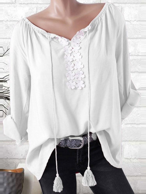 Lace Long Sleeve Mid-Length Blouse
