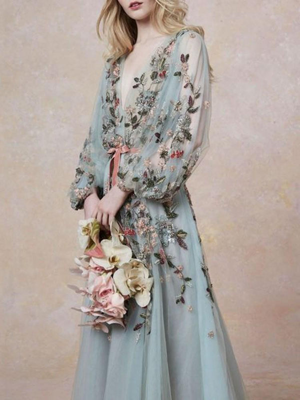 Embroidery V-Neck Long Sleeve Western Floral Dress