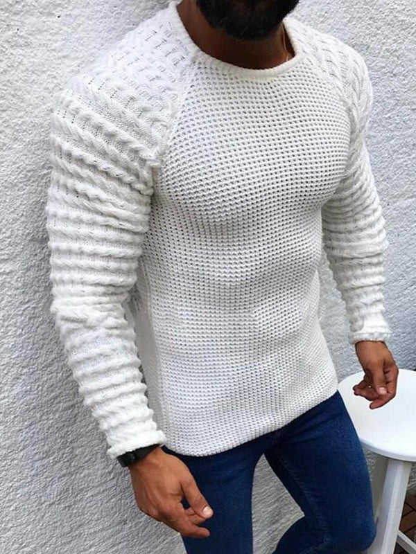 Round Neck Plain Standard Fall Casual Sweater