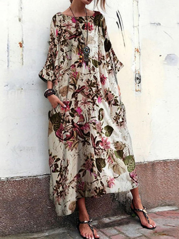Three-Quarter Sleeve Print Ankle-Length Floral Flare Sleeve Dress