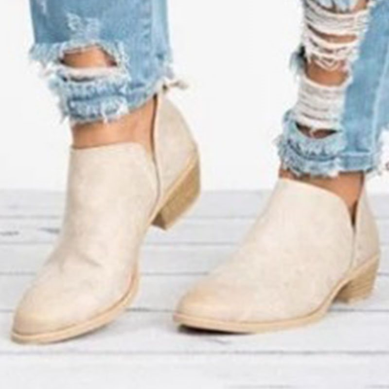 Pointed Toe Back Zip Plain Casual Western Boots