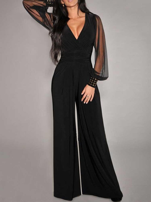 See-Through Plain Western Loose Wide Legs Jumpsuit