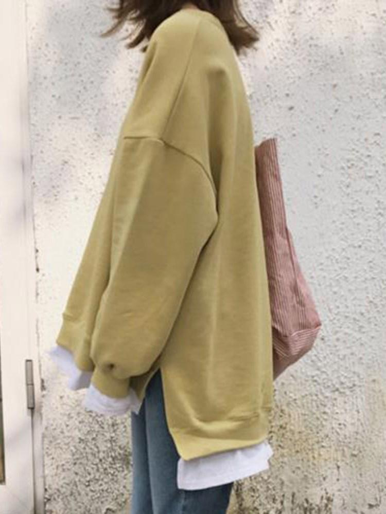 Color Block Regular Patchwork Long Sleeve Mid-Length Hoodie