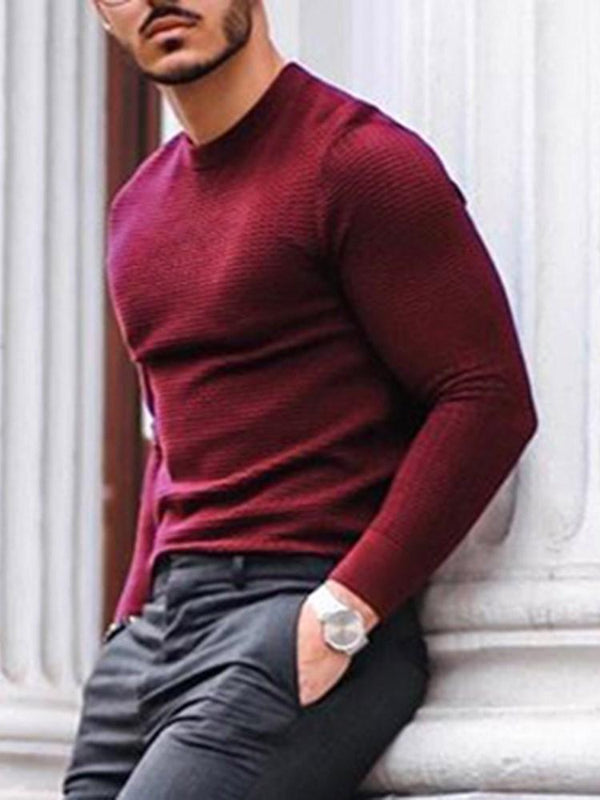 Standard Stand Collar Plain Slim Spring Sweater