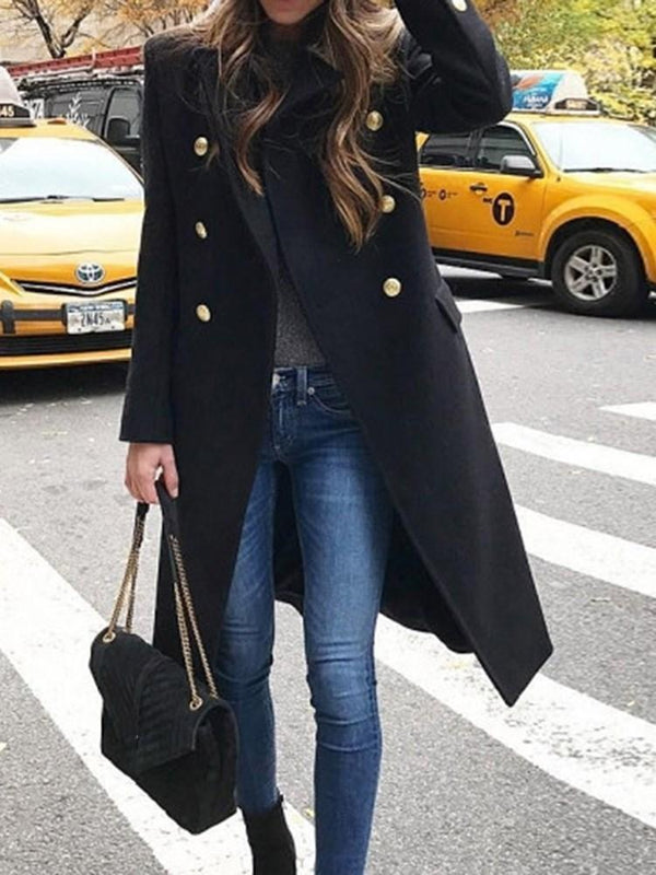 Straight Double-Breasted Long Overcoat