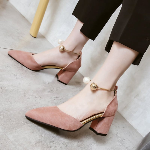 Slip-On Chunky Heel Pointed Toe Plain Casual Thin Shoes