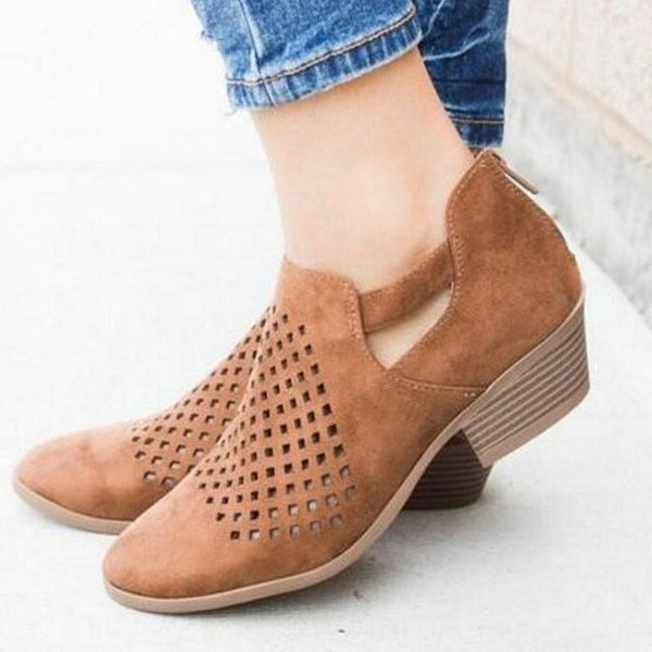 Chunky Heel Round Toe Zipper Hollow Casual Low-Cut Upper Thin Shoes