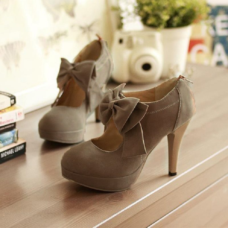 Round Toe Bow Zipper Casual Sweet Thin Shoes