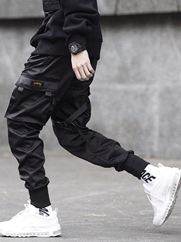 Lace-Up Overall Plain Casual Mid Waist Casual Pants