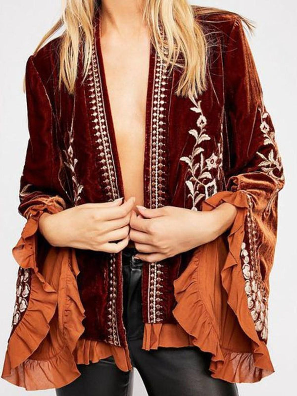 Straight Long Sleeve Thin Flare Sleeve Mid-Length Jacket