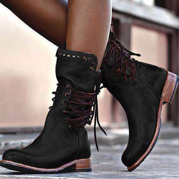 Lace-Up Back Block Heel Round Toe Thread Short Floss Boots