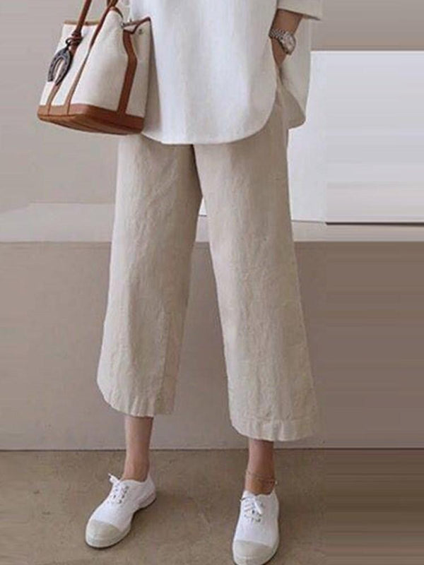 Plain Loose Ankle Length Straight Casual Pants
