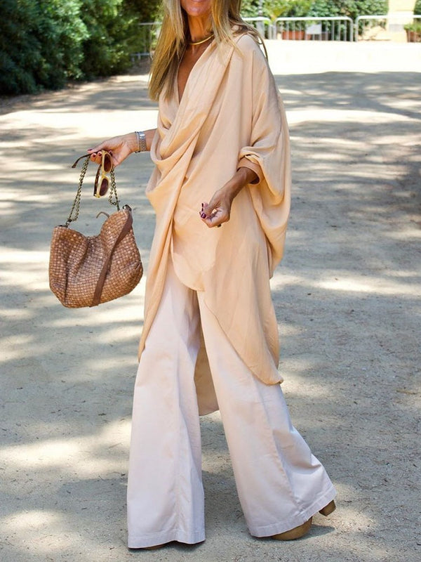 Plain Asymmetric Long Sleeve Long Blouse