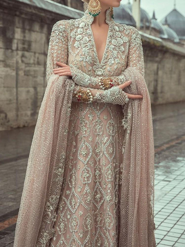 V-Neck Floor-Length Embroidery Pullover Geometric Dress