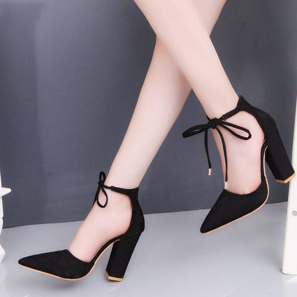 Lace-Up Pointed Toe Chunky Heel 9cm Casual Thin Shoes