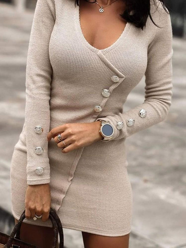 Long Sleeve Above Knee Button Pullover Fall Dress