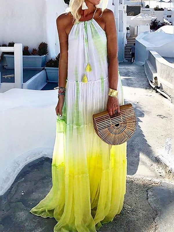 Sleeveless Round Neck Patchwork Travel Look A-Line Dress