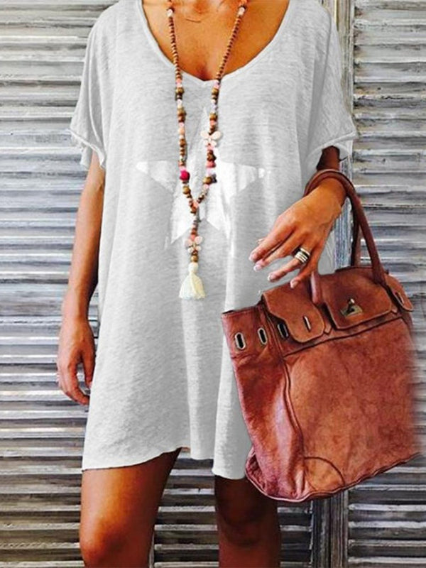 Above Knee Print Short Sleeve Pullover Star Dress