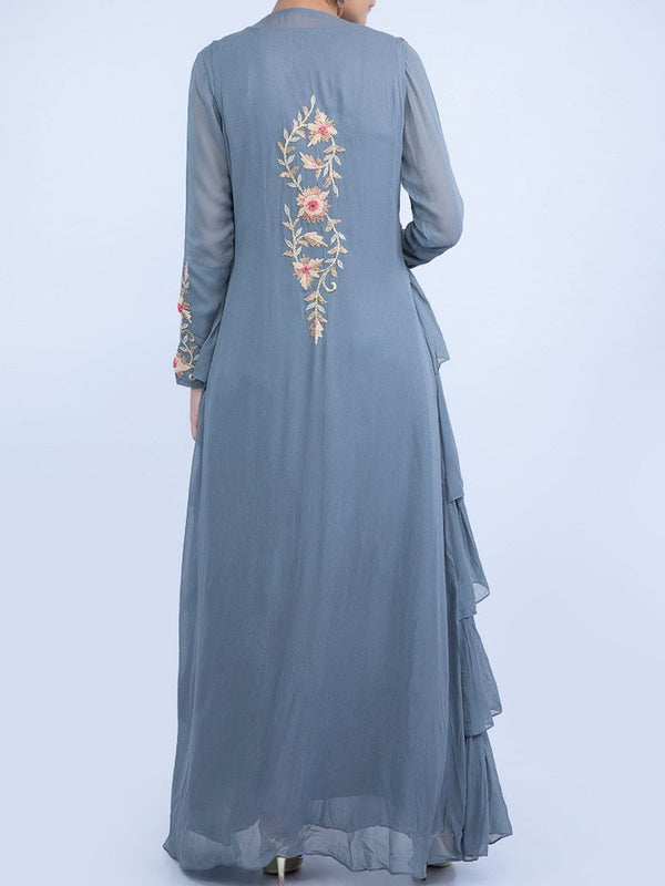 Floor-Length Cap Sleeve Embroidery Vintage Regular Dress