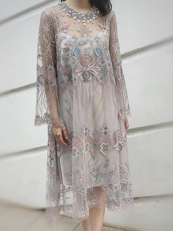 Round Neck Long Sleeve Embroidery Regular Party/Cocktail Dress