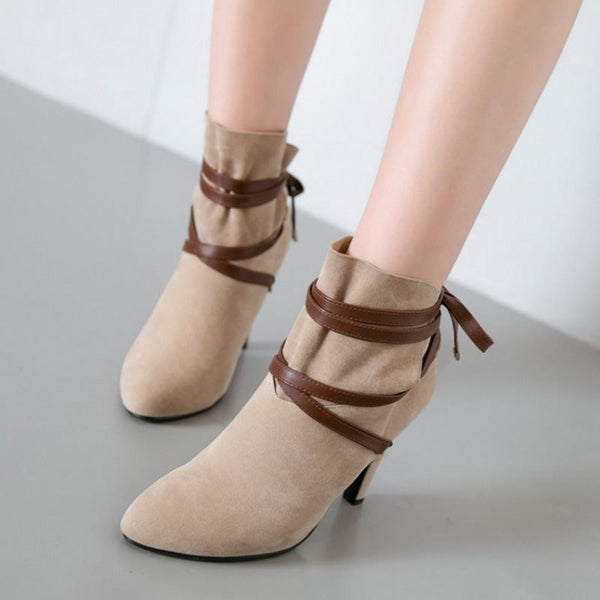 Pointed Toe Patchwork Lace-Up Back Thread Casual Boots