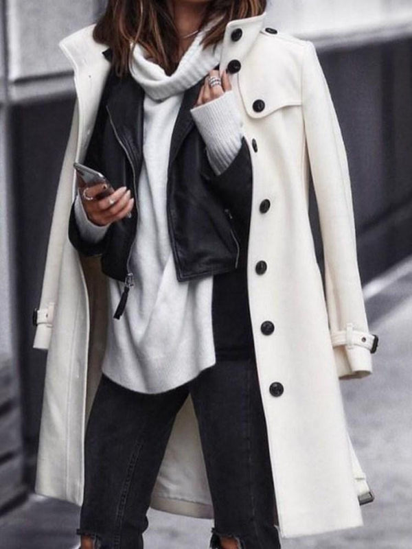 Regular A Line Button Winter Long Overcoat