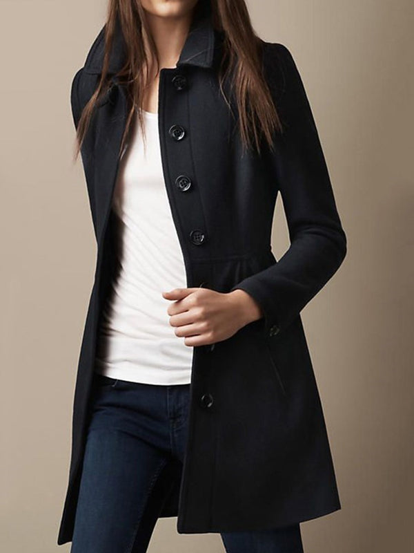 Single-Breasted Lapel Mid-Length Casual Regular Trench Coat