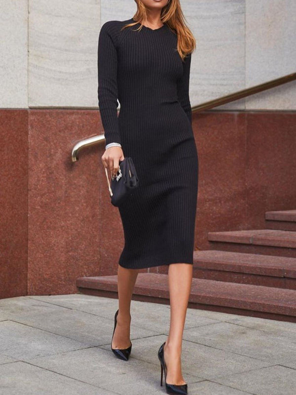 Backless Mid-Calf Long Sleeve Plain Bodycon Dress