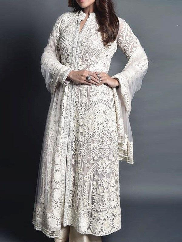 Stand Collar Embroidery Long Sleeve Regular A-Line Dress