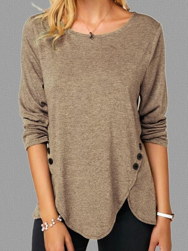 Plain Long Sleeve Round Neck Slim Casual T-Shirt