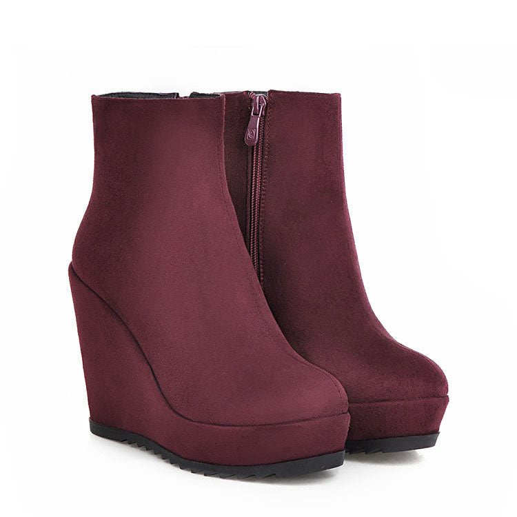 Plain Round Toe Side Zipper Wedge Heel Platform Sweet Boots