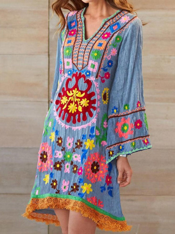 Embroidery Long Sleeve V-Neck Casual A-Line Dress