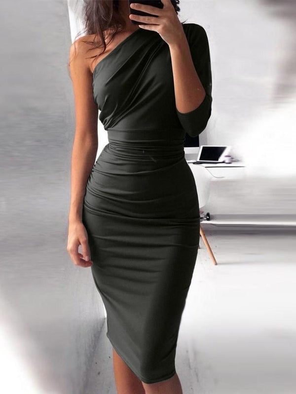 Three-Quarter Sleeve Knee-Length Asymmetric Bodycon Pullover Dress
