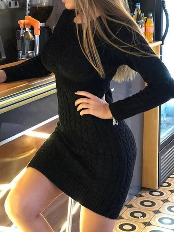 Above Knee Round Neck Long Sleeve Pullover Regular Dress
