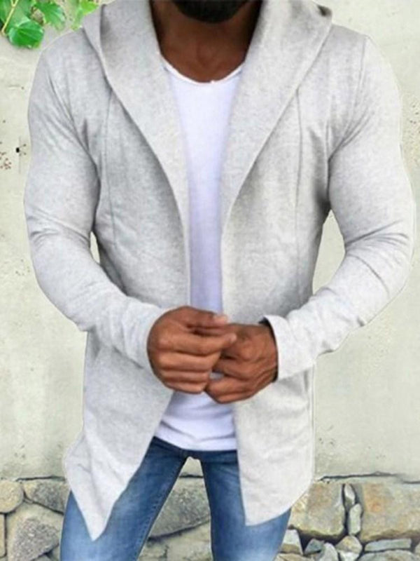 Plain Hooded Loose Wrapped Jacket