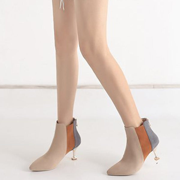 Color Block Pointed Toe Back Zip PU Western Boots