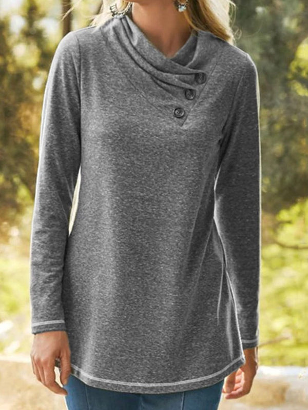 Regular Regular Button Long Sleeve Loose Sweater