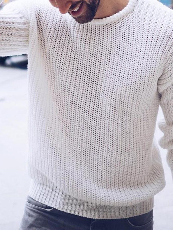 Standard Round Neck Plain Loose Fall Sweater