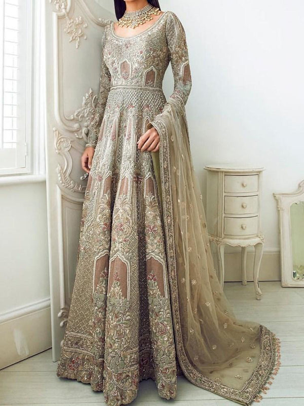 Embroidery Floor-Length Long Sleeve A-Line Pullover Dress