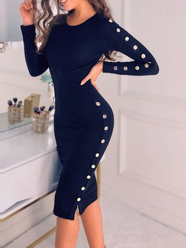 Button Mid-Calf Long Sleeve Plain Sheath Dress