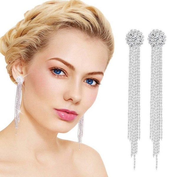 Korean Tassel Plain Anniversary Earrings