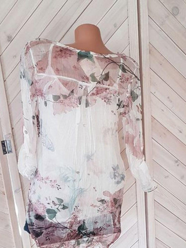Floral Print Long Sleeve Mid-Length Blouse