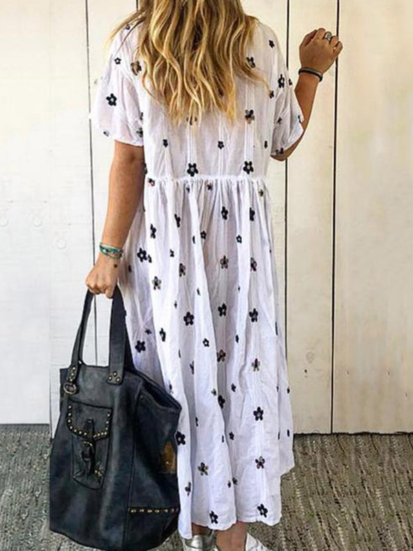 Print Mid-Calf Short Sleeve Floral Pullover Dress